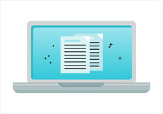 Laptop with Electronic Documents on Screen. Laptop flat icon. Concept of online document management, online communication, internet network, email stock illustration