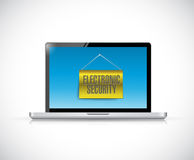 Laptop and electronic security sign banner Stock Images