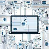 Laptop and electronics circuit Royalty Free Stock Photo