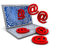 Laptop and email. Abstract 3d illustration of laptop computer with email signs Stock Photos
