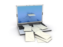 Laptop email. Laptop which letters go out from