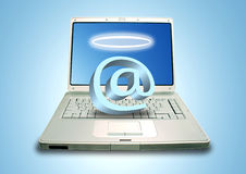 Laptop and Email Angel Royalty Free Stock Image