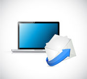 Laptop and email. contact us on the go concept. Illustration design Stock Images