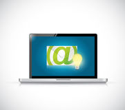 Laptop and email light bulb illustration design Stock Photography