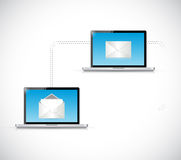 Laptop email network communication. illustration. Design over a white background Stock Image