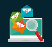 Laptop email searching data icon design. Illustration eps 10 Royalty Free Stock Images