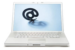 Laptop with email symbol on screen Stock Images