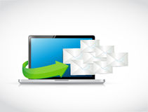 Laptop and emails illustration design Stock Image