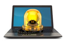Laptop with emergency siren Royalty Free Stock Photo