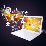 Laptop emits letters, numbers and smoke Royalty Free Stock Photography