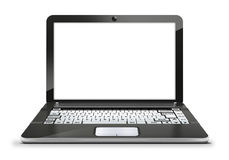 laptop with empty blank white screen Royalty Free Stock Photos