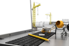The laptop with empty screen and object for construction. Royalty Free Stock Image