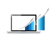 Laptop en blauwe bedrijfsgrafiek Stock Fotografie