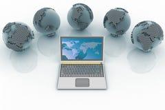 Laptop en bollen Net van de conceptie het mondiale computer royalty-vrije illustratie