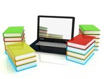 Laptop en de boeken Stock Foto