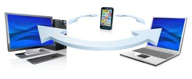 Laptop en de celtelefoon van de computer het verbinden royalty-vrije illustratie