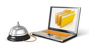 Laptop en de Dienstklok Stock Foto