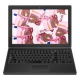 Laptop en euro achtergrond tien Stock Afbeelding