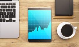 Laptop en gadgets op lijst Stock Foto