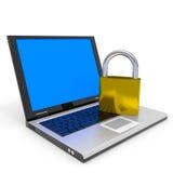 Laptop en hangslot. De veiligheidsconcept van Internet. Royalty-vrije Stock Foto