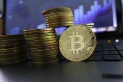 Laptop en het groeien stapels van gouden Bitcoin-kapitalisatie stock afbeeldingen