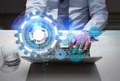 Laptop en het water van het technologieconcept Royalty-vrije Stock Afbeelding