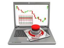 Laptop en hulpknoop Stock Foto