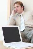 Laptop en Mens Stock Foto's