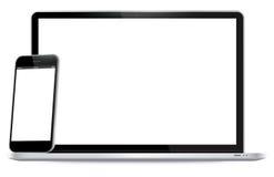 Laptop en Mobiele Telefoon Vectorillustratie Stock Foto