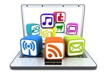 Laptop en multimedia vector illustratie