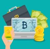 Laptop en smartphone met bitcoinmunt en rekeningen stock illustratie
