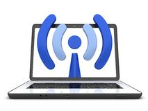 Laptop en symbool WiFi Stock Foto