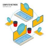 Laptop en tabletnetwerk online onderwijs Stock Foto