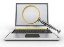 Laptop en vergrootglas Conceptie van onderzoek van antwoorden of steun in Internet stock illustratie