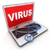 Laptop en virus Stock Foto's