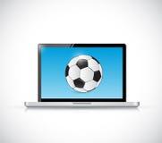 Laptop en voetbalbal Het ontwerp van de illustratie Royalty-vrije Stock Foto