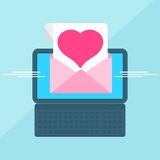 Laptop with envelop heart. Laptop with envelope and document on screen. Love message. Heart in the letter. Internet advertising concepts. Flat vector cartoon Stock Photos