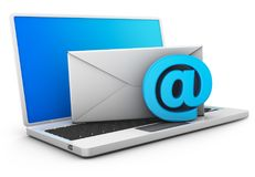 Laptop with envelope and email sign. A laptop on which is an envelope and an email sign. 3d rendering Stock Photo