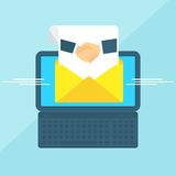 Laptop with envelope handshake. Laptop with envelope and document on screen. Partnership agreement. Handshake business man. Internet advertising concepts. Flat royalty free illustration