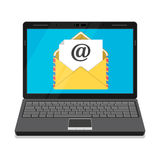 Laptop with envelope and open email on screen. Email marketing, internet advertising concepts. Flat vector illustration Royalty Free Stock Image