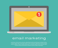 Laptop with envelope and read email on screen. Email marketing, internet advertising concepts. Flat vector. Laptop with envelope and document on screen. E-mail Stock Images