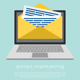 Laptop with envelope and read email on screen. Email marketing, internet advertising concepts. Flat vector. Laptop with envelope and document on screen. E-mail Royalty Free Stock Image