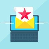 Laptop with envelope red star Royalty Free Stock Photos