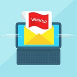 Laptop with envelope winner Royalty Free Stock Photography