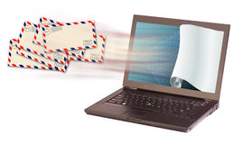 Laptop and envelopes Stock Image