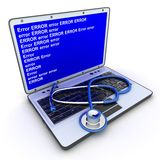 Laptop error. And stethoscope (done in 3d Stock Photography