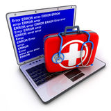 Laptop error and first-aid kit Stock Images