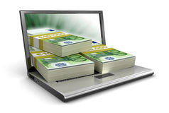 Laptop and Euro (clipping path included) Stock Photo