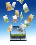 Laptop and euro money. Stock Photography