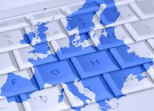 Laptop Europe Royalty Free Stock Image